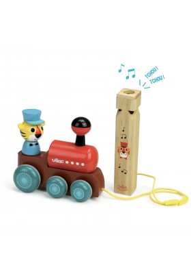Train pull toy with a whistle