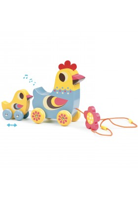 The hen and the chick pull along musical toy