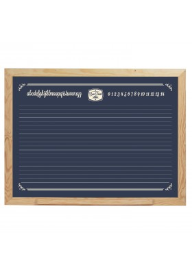 Large hanging board, with blackboard on one side to write with chalk and on the other side, a magnetic whiteboard for felt pens
