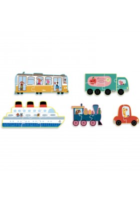 Puzzle en carton Transport Gallimard - 2, 3, 4, 5, 6 pcs