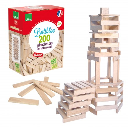200 natural wood pieces set