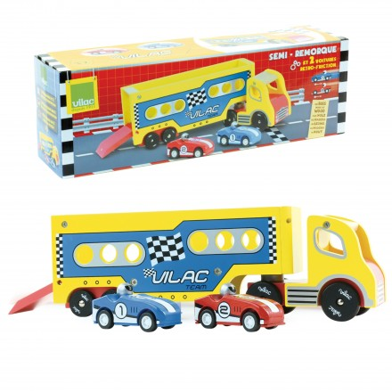 Articulated lorry with 2 friction cars