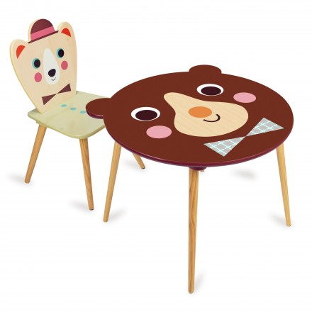 Table Ours Brun + Chaise ours chapeau Ingela
