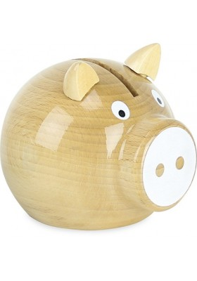 Natural wood and white pig money box