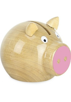 Natural wood and pink pig money box