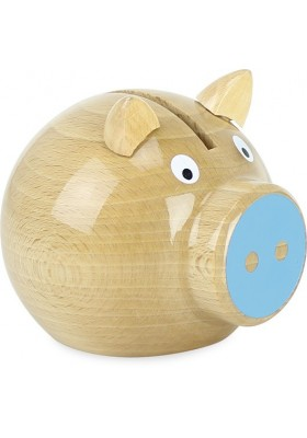 Natural wood and blue pig money box