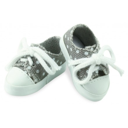 Grey canvas shoes with white dots for doll MINOUCHE 34 cm