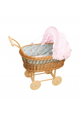 Large doll wicker pram, fabric with flowers