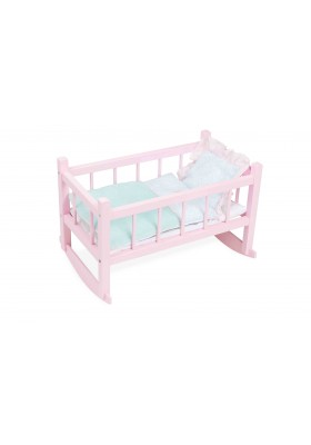 Pink lacquered bed for 40 cm doll