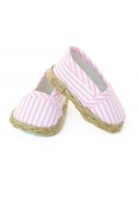 Canvas shoes with pink & white stripes for 39 / 40 / 48 cm doll