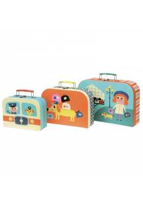 Set of 3 cardboard suitcases by Ingela P. Arrhenius