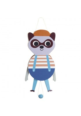 Raccoon wooden puppet