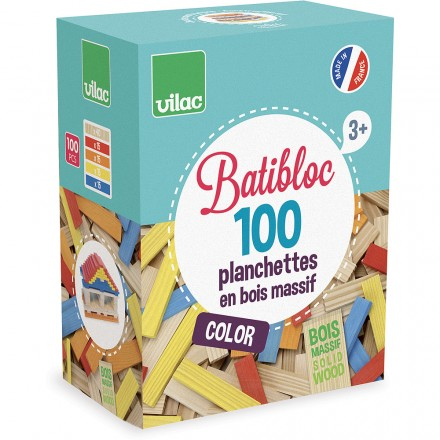 100 colored wood pieces set