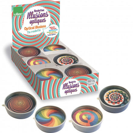 Display of 12 optical illusions tin roulettes