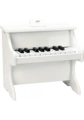18-key white upright piano with scores
