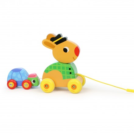 The hare and the tortoise pull along musical toy