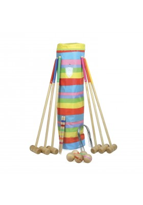 6 players large croquet set in golf bag