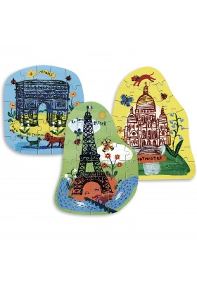 Eiffel tower 3 puzzles by Nathalie Lete