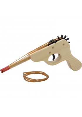 Wooden gun with rubber band