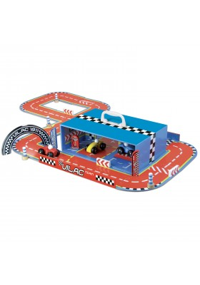 Race track set in suitcase