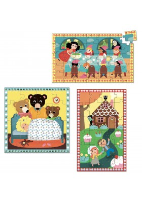 Fairy tales 3 wood puzzles set