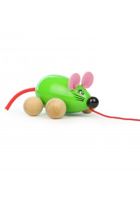 Lisa the pull along mouse, green